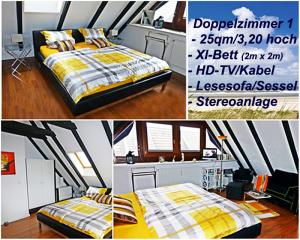 XL-Bett im Doppelzimmer 1 der günstigen Ferienwohnung Sylt - Sylter Deichwiesen www.sylter-deichwiesen.de