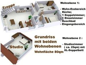 Grundriss mit beiden Etagen der Ferienwohnung Sylt Sylter Deichwiesen für 5 Personen