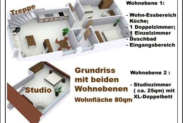 GRundriss Ferienwohnung Sylter Deichwiesen mit beiden Etagen der Wohnung www.sylter-deichwiesen.de