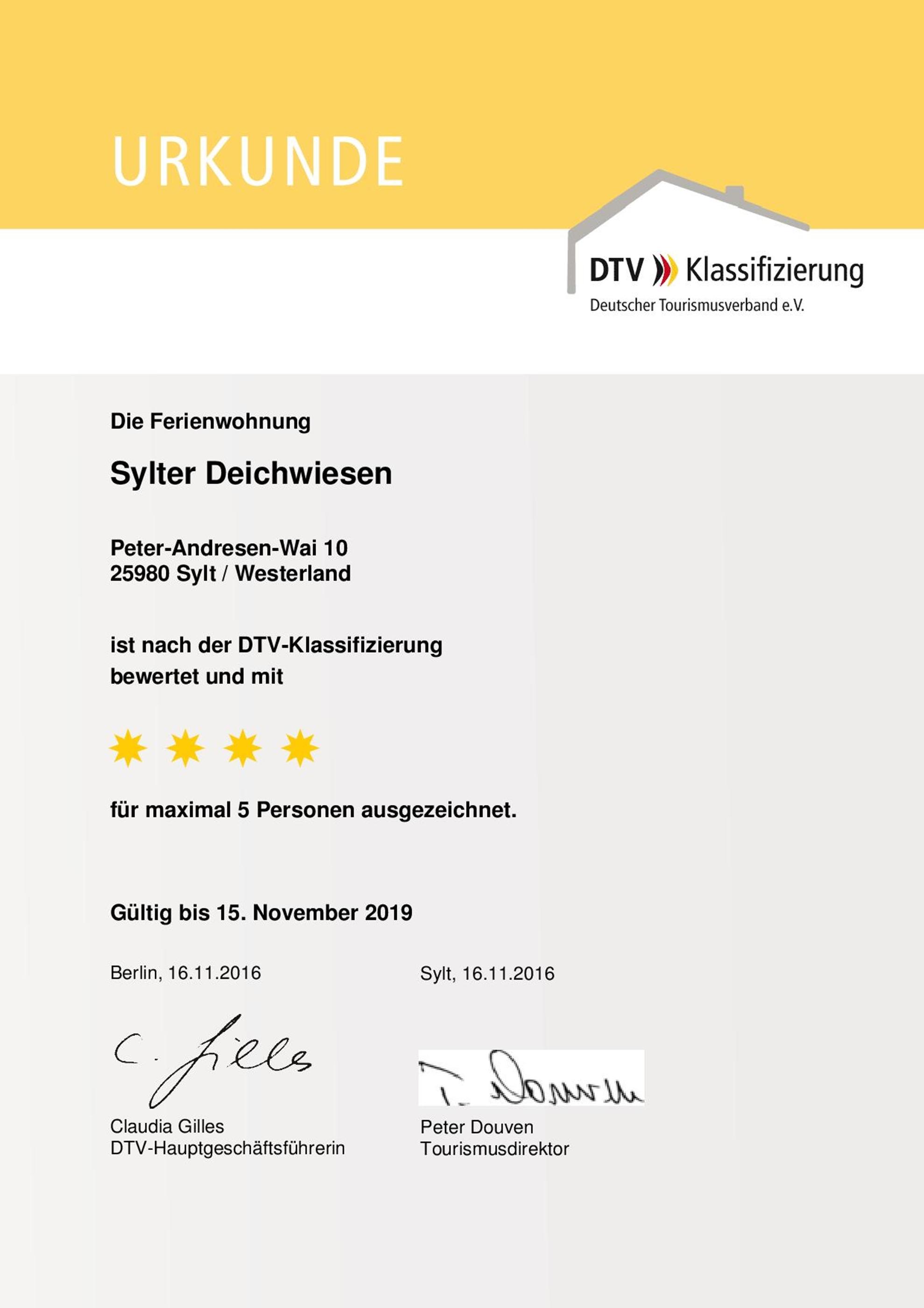 DTV URKUNDE Ferienwohnung auf Sylt Sylter Deichwiesen www.sylter-deichwiesen.de